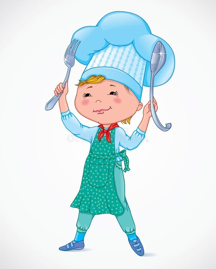 有叉子和匙子的小厨师 库存例证
