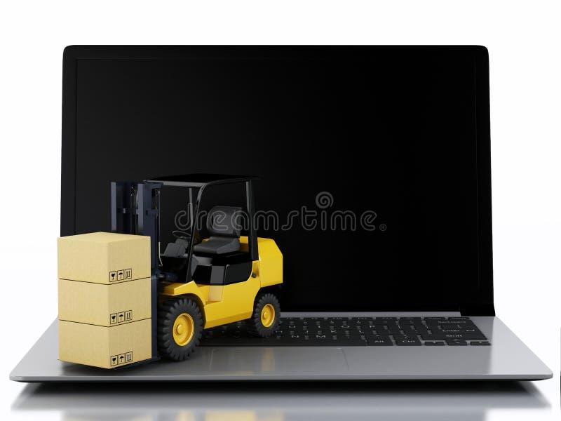 有叉架起货车的膝上型计算机 提供程序包 库存例证
