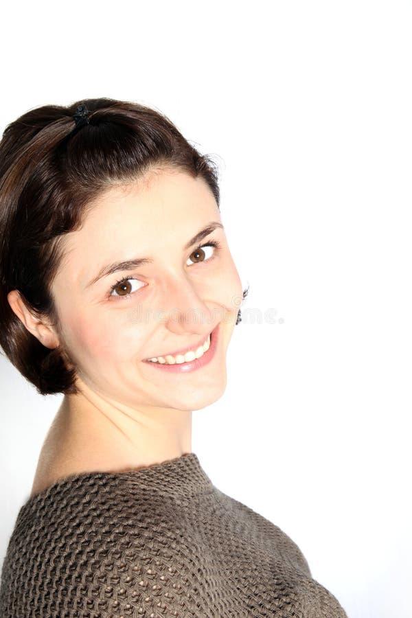 有友好微笑的可爱的妇女 免版税库存照片