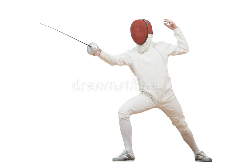 有双刃剑箔的击剑者 免版税库存照片