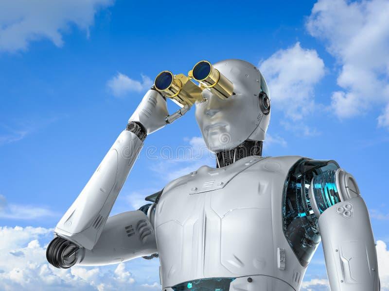 有双筒望远镜的机器人 向量例证
