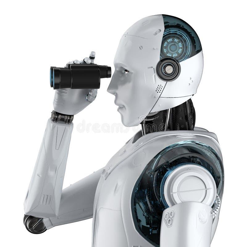 有双筒望远镜的机器人 皇族释放例证