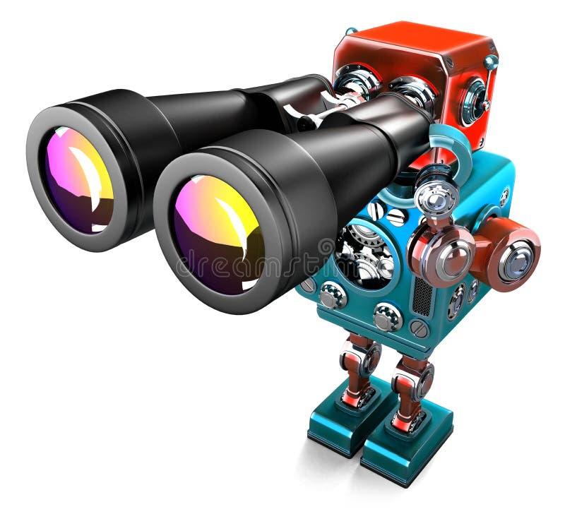有双筒望远镜的葡萄酒机器人 包含裁减路线 库存例证