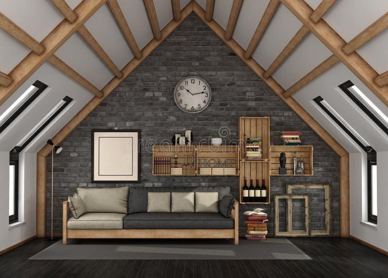 有双重斜坡屋顶的房屋的客厅 向量例证