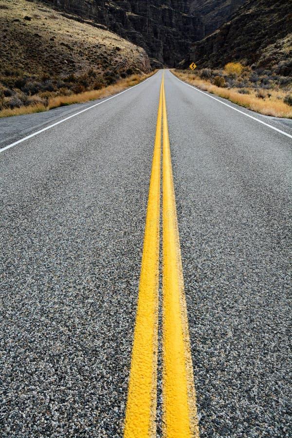有双黄线的弯曲的路 库存图片