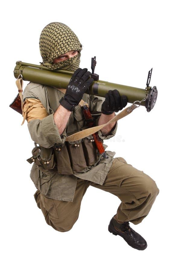 有反坦克火箭发射器的- RPG佣工 库存照片