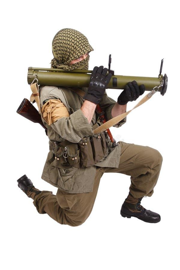 有反坦克火箭发射器的- RPG佣工 免版税库存照片