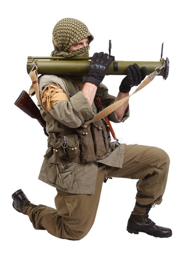 有反坦克火箭发射器的- RPG佣工 免版税库存图片