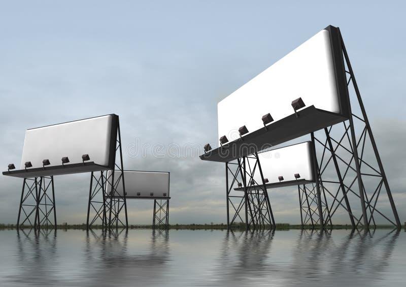 有反射器的广告牌建筑 免版税库存图片