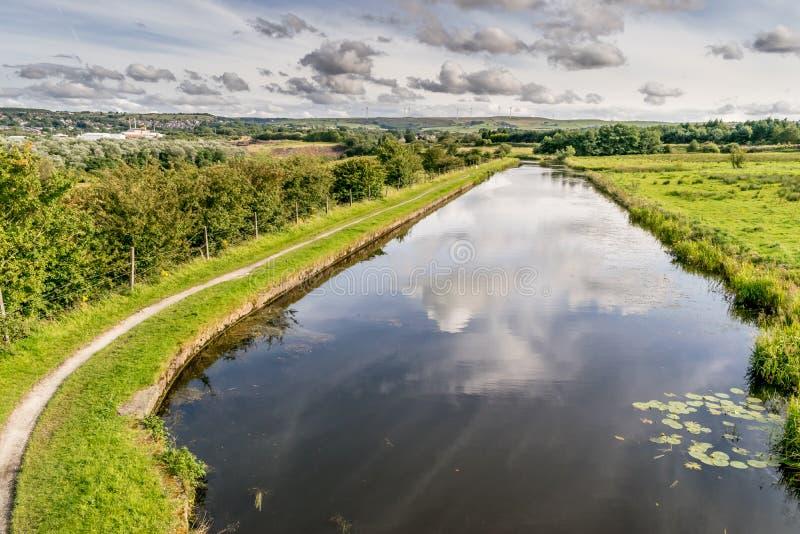 有反射在水中的云彩的利兹利物浦运河 免版税库存照片