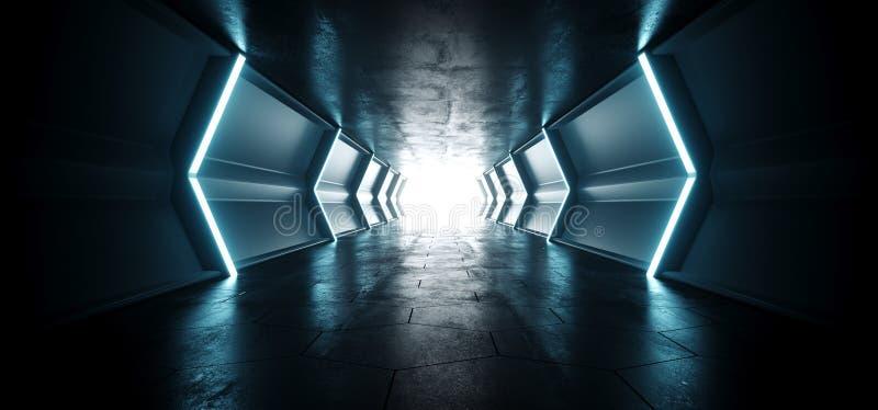 有反射性金属纹理和难看的东西的霓虹蓝色被点燃的科学幻想小说未来派外籍人船反射性空的明亮的隧道走廊 向量例证