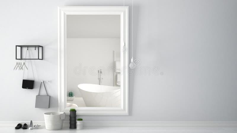有反射有浴缸的,最低纲领派白色室内设计的镜子的斯堪的纳维亚入口大厅大厅明亮的卫生间 库存例证