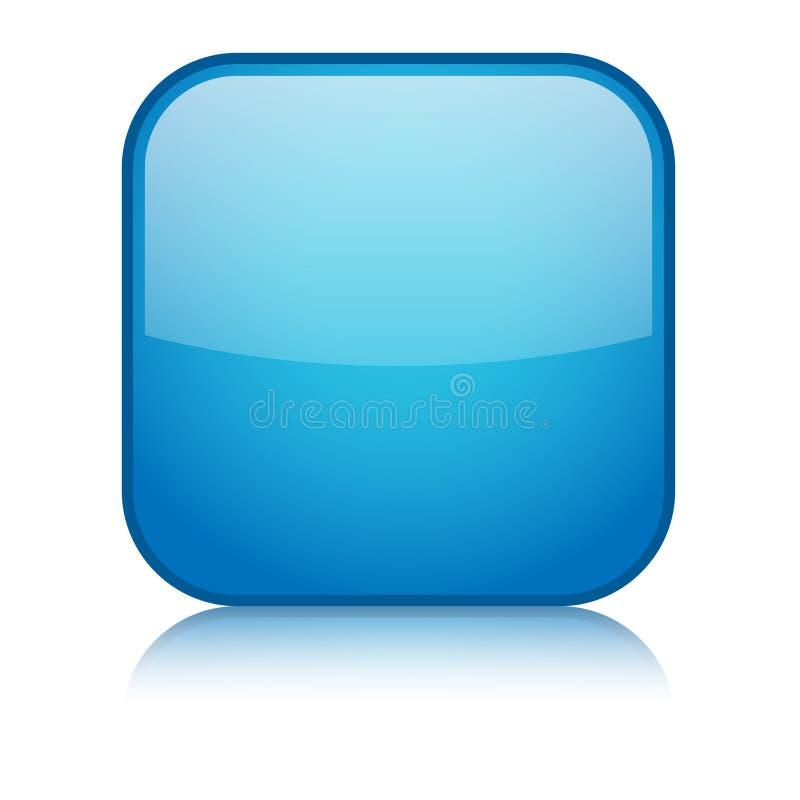 有反射的空白的方形的传染媒介网按钮 皇族释放例证