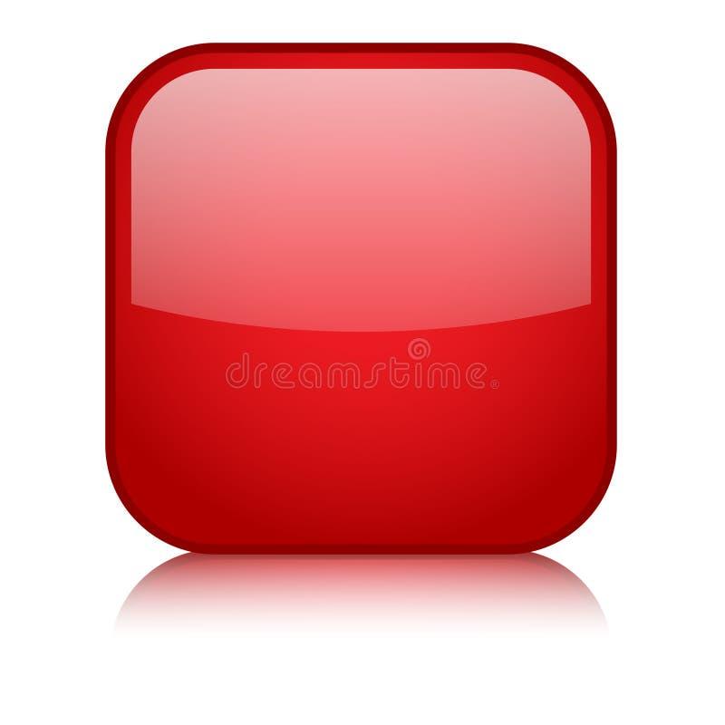 有反射的空白的红场传染媒介网按钮 库存例证
