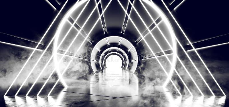 有发光与反射太空飞船的被带领的白光的烟霓虹三角科学幻想小说未来派圆的圆筒形状的走廊 皇族释放例证