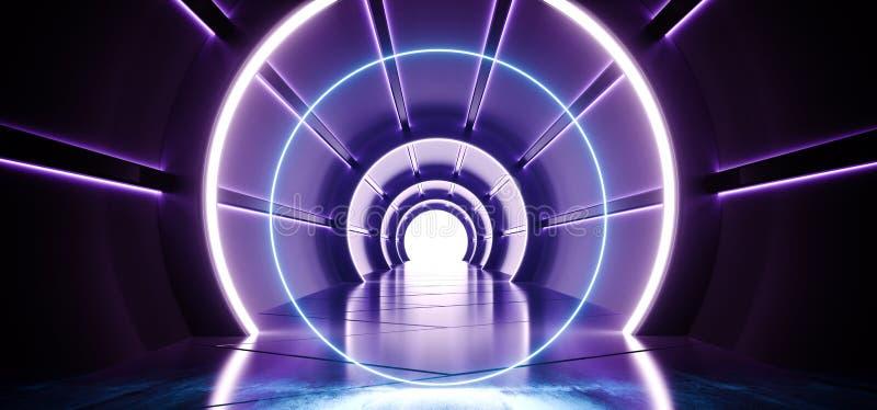 有发光与反射蓝色材料的被带领的蓝色和白光的圈子科学幻想小说未来派圆的圆筒形状的走廊和 皇族释放例证