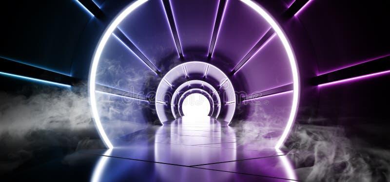 有发光与反射蓝色材料的被带领的蓝色和白光的烟圈子科学幻想小说未来派圆的圆筒形状的走廊 皇族释放例证