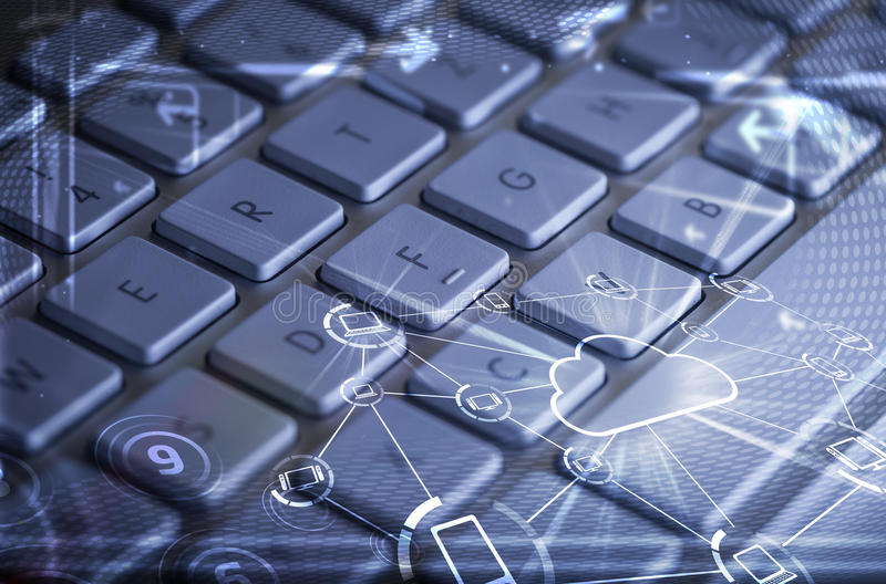 有发光的云彩技术象的键盘 免版税库存照片