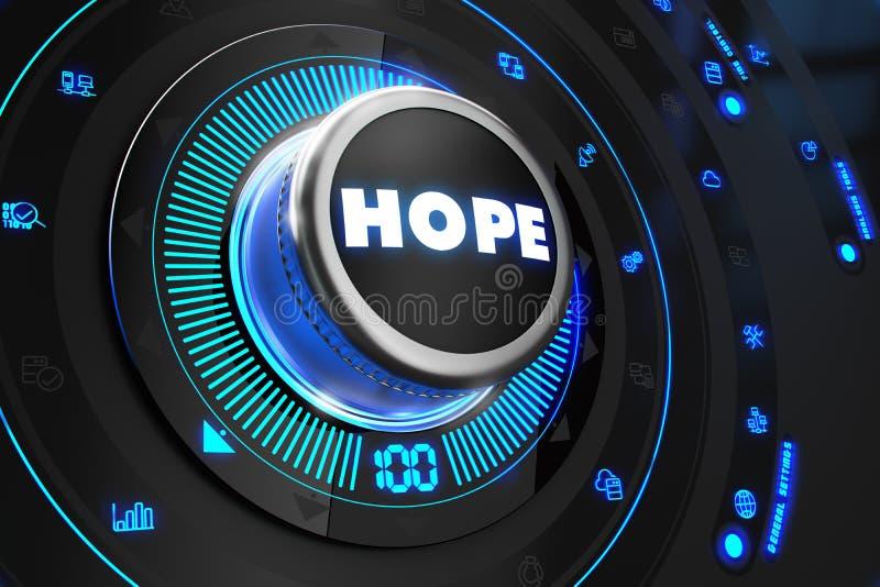 有发光的蓝色光的希望按钮 库存例证