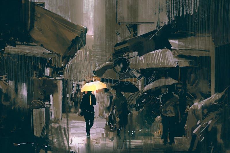 有发光的黄色伞的人走在城市的 向量例证