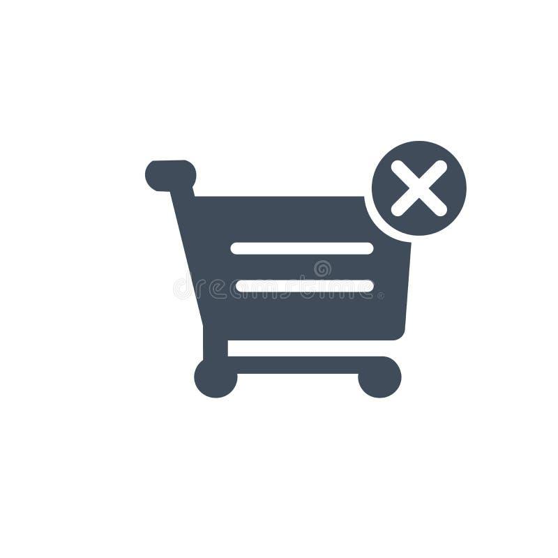 有发怒标志传染媒介象的购物车 流动概念和网络设计的被填装的平的标志 简单取消或删除的购买 皇族释放例证