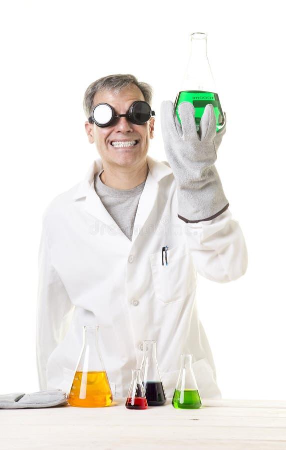 有发现的疯狂的疯狂的科学家 免版税库存图片