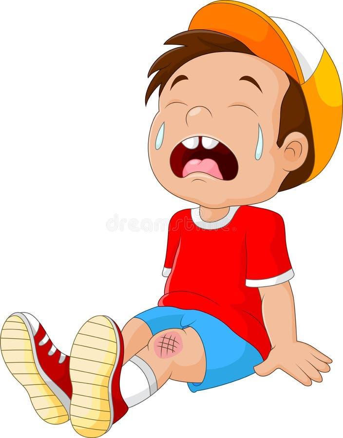 有受伤的腿的动画片哭泣的男孩 向量例证