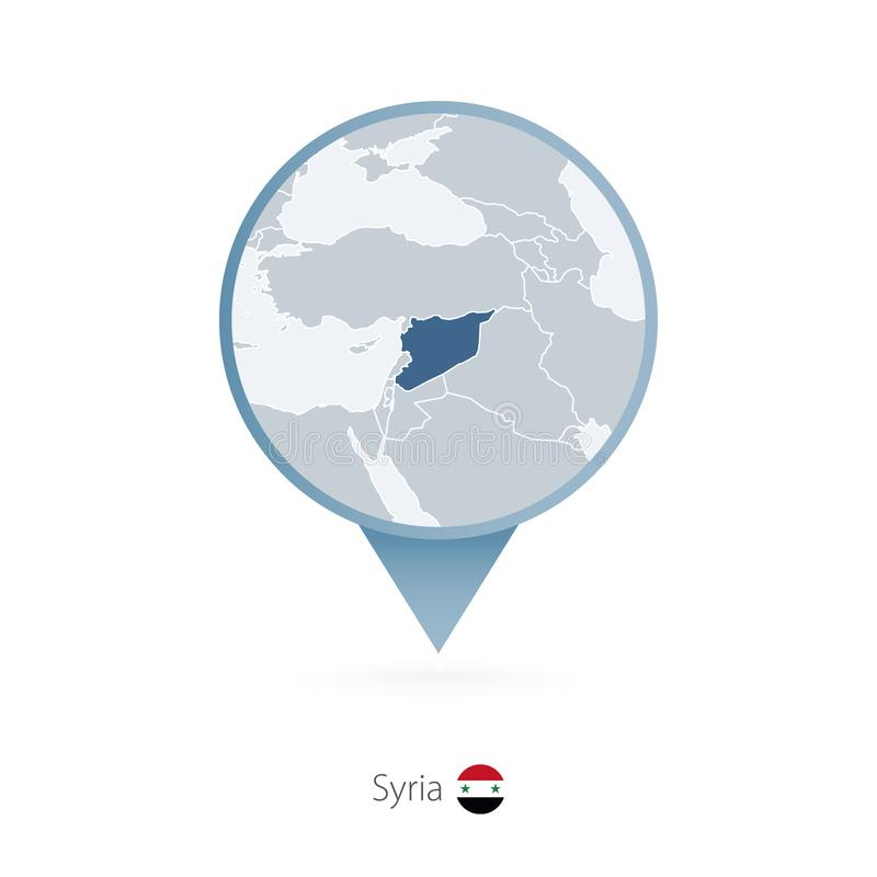 有叙利亚和邻国详细的地图的地图别针  库存例证