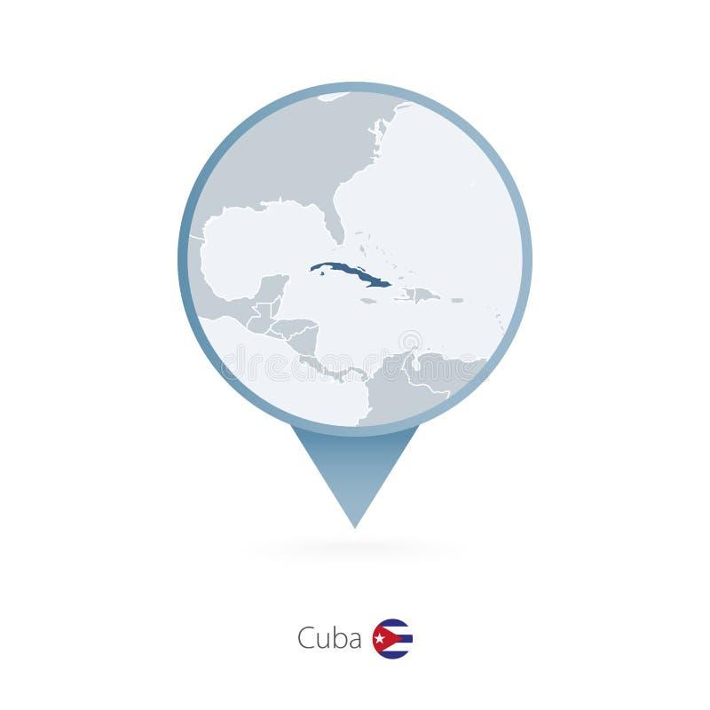 有古巴和邻国详细的地图的地图别针  库存例证
