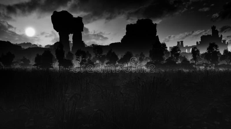 有古老废墟和城堡的黑暗的草甸 皇族释放例证