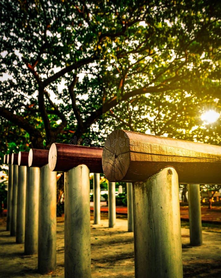 有另外平实具体杆的锻炼设备身体平衡火车的在巨人Raintree附近的公园 图库摄影