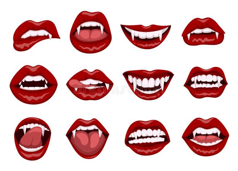 有叮咬犬齿的女性红色吸血鬼嘴唇 库存例证