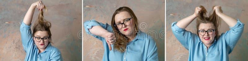 有可爱的正大小的妇女拼贴画画象愤怒情感,表达绝望和激怒 免版税库存照片