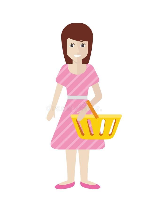 有台车篮子的妇女在超级市场 向量例证