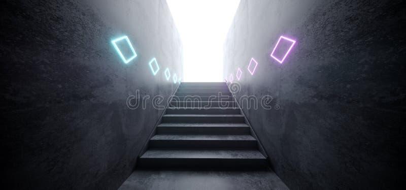 有台阶反射性难看的东西具体白炽的科学幻想小说现代未来派网络霓虹发光的紫色蓝色激光俱乐部阶段隧道 向量例证