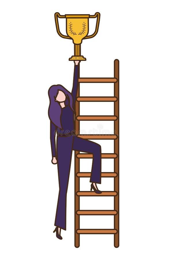 有台阶和战利品具体化字符的女实业家 皇族释放例证