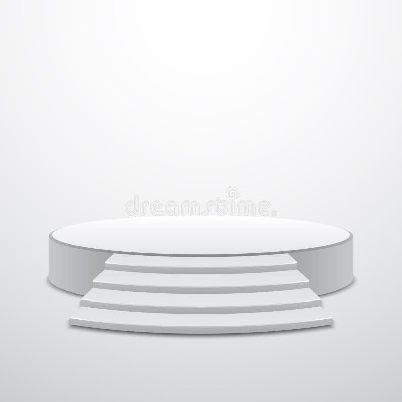 有台阶的白色圆的指挥台 库存例证
