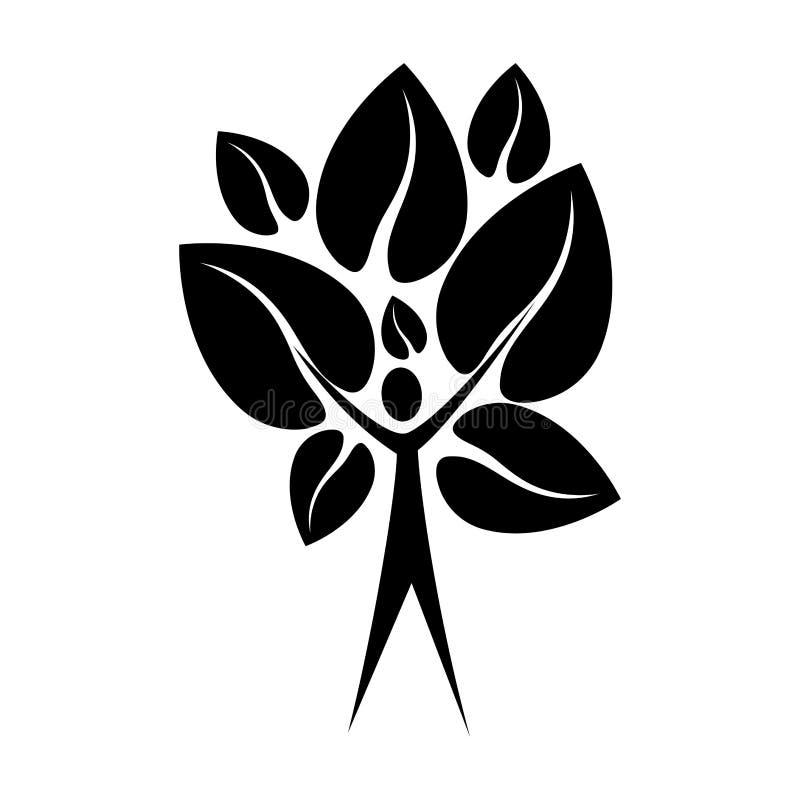 有叶子形状心脏的黑人颜色树干人对相反 库存例证