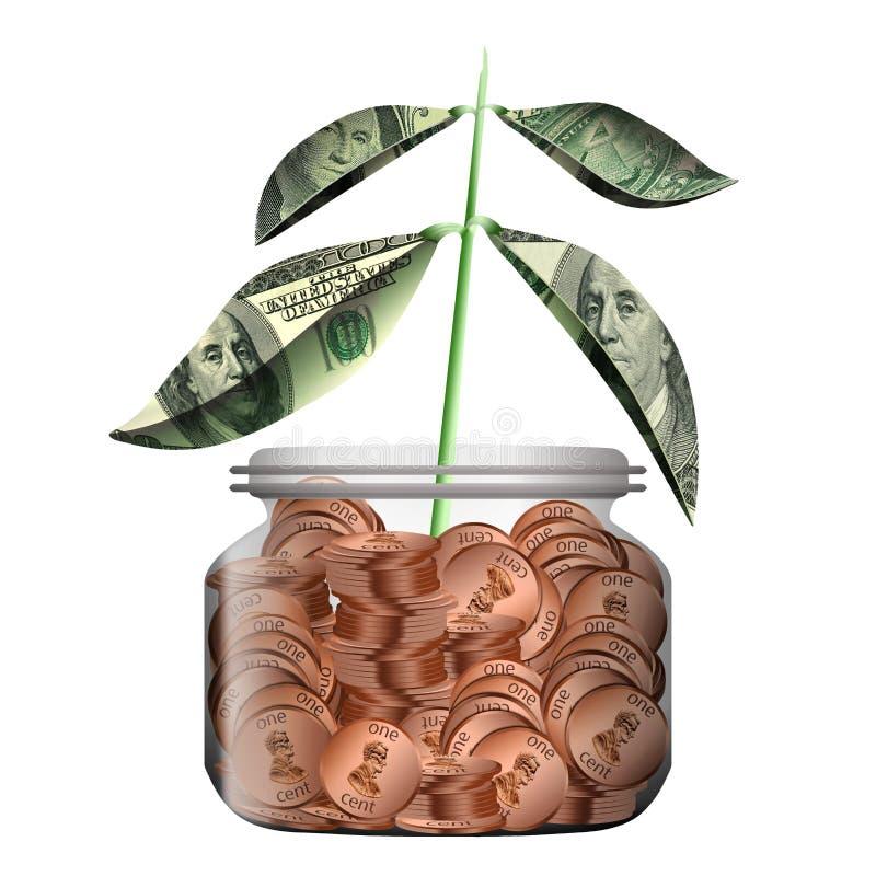 有叶子的一棵新的植物由金钱制成增长在一个玻璃瓶子外面充满便士 皇族释放例证
