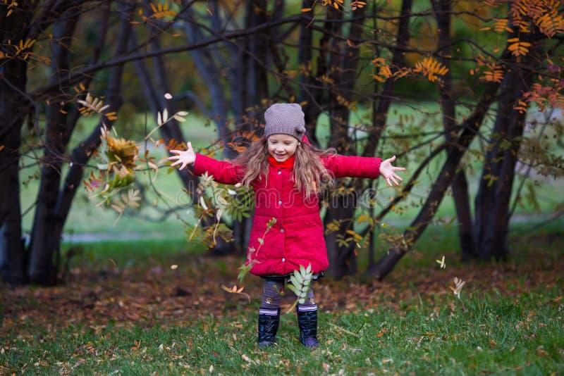 有叶子的小女孩在秋天公园 图库摄影