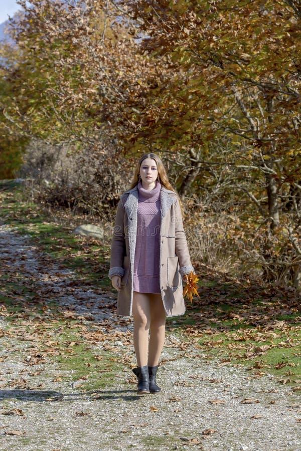有叶子的年轻美女在手上走沿道路的以好日子关闭的秋天森林为背景 免版税库存图片