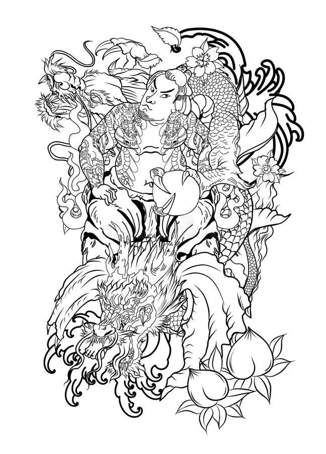 有叶子的日本武士和龙刺字充分的身体 手拉的传统日本人传染媒介 向量例证