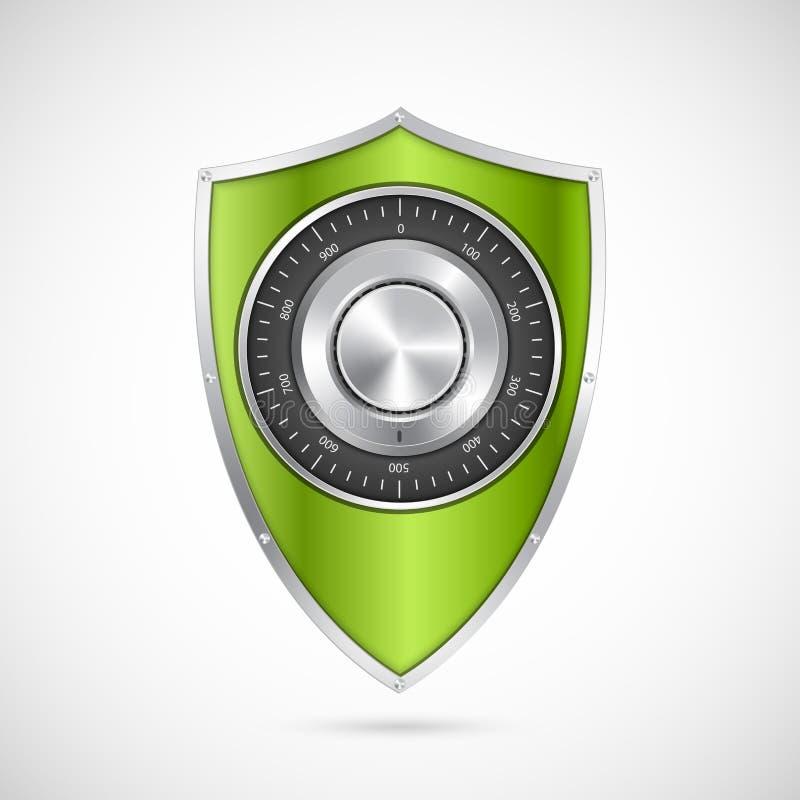 有号码锁的保护绿色盾 向量例证