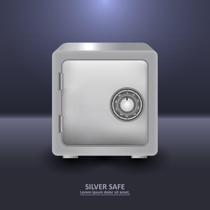 有号码锁的银色安全保险柜 库存例证