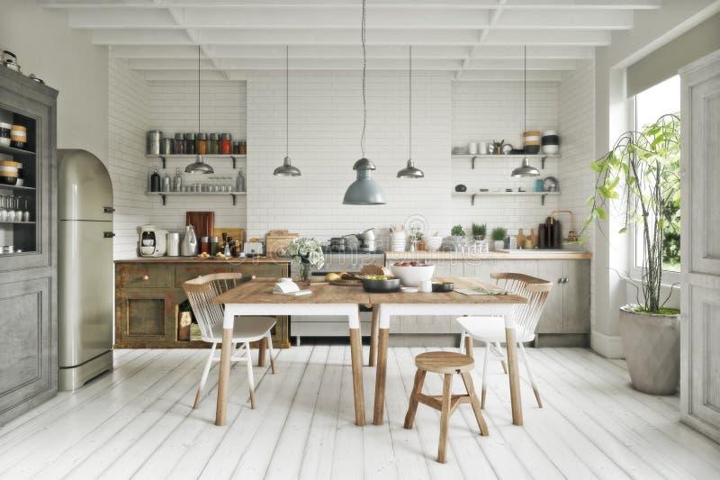 有吃区域和单纯化的口音的斯堪的纳维亚现代风格厨房 皇族释放例证