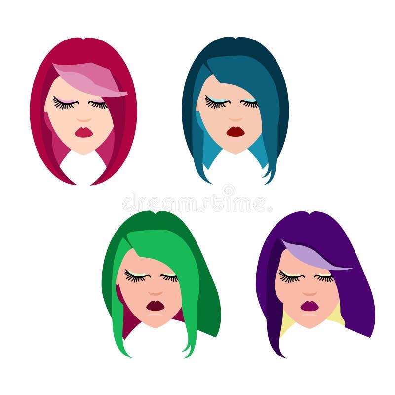 有各种各样的发型的妇女 库存例证