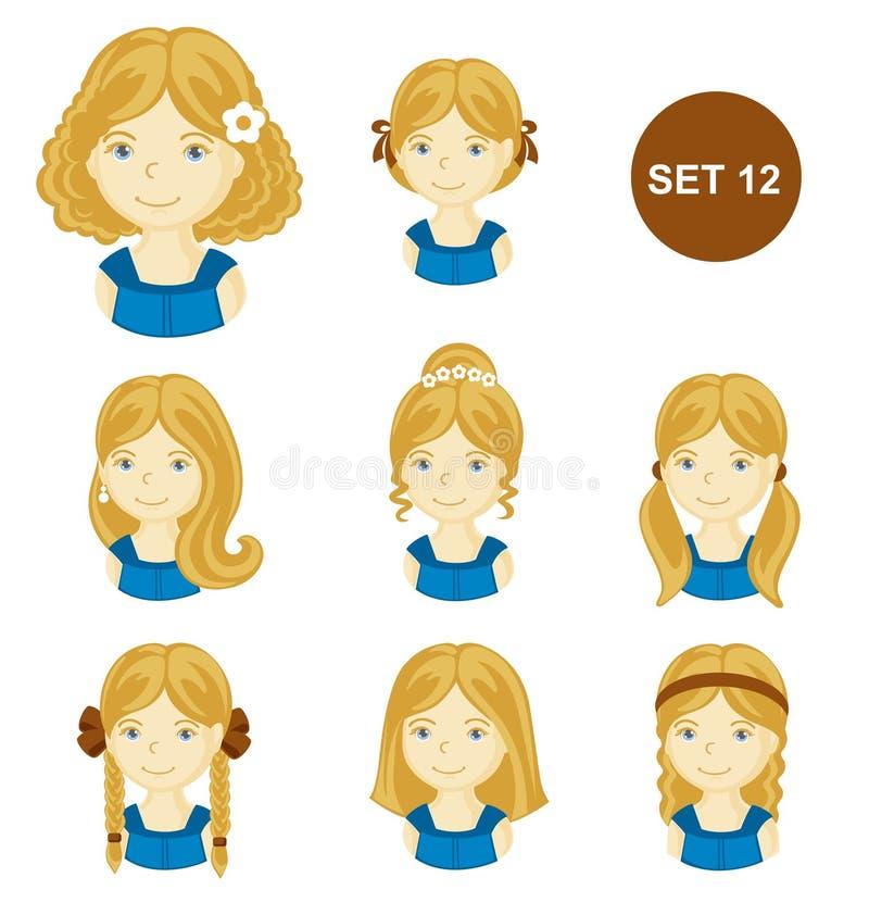 有各种各样的发型的逗人喜爱的白肤金发的小女孩 库存例证