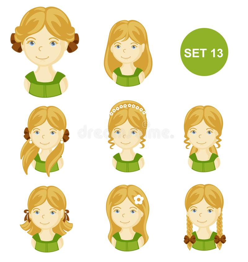 有各种各样的发型的逗人喜爱的白肤金发的小女孩 皇族释放例证