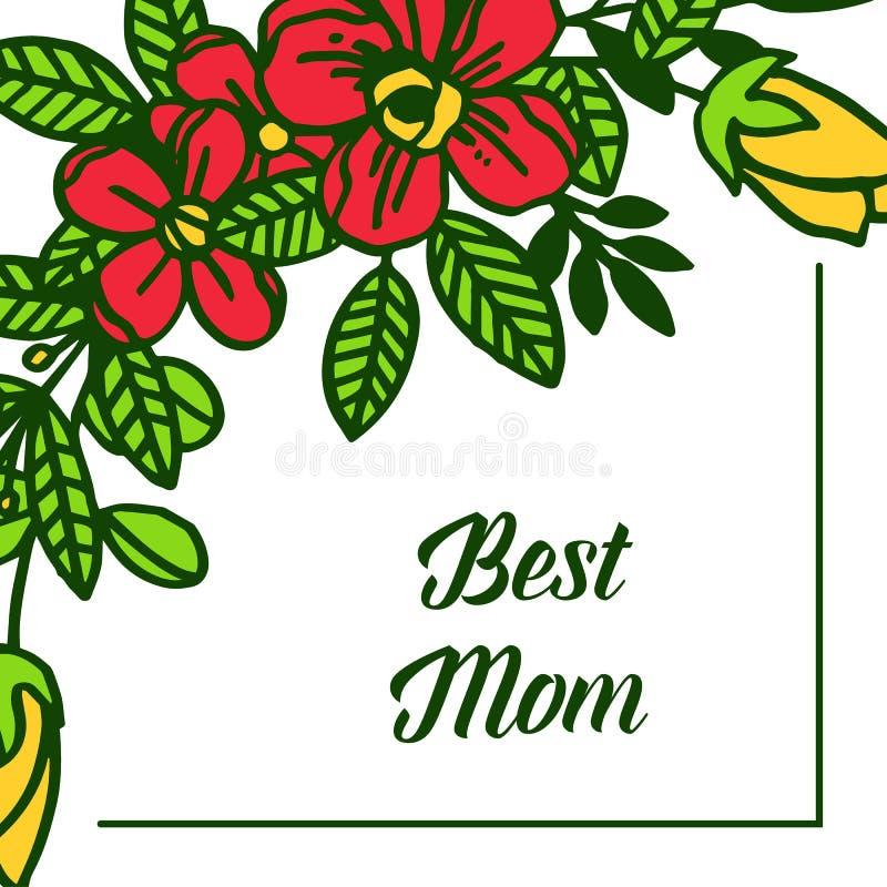 有各种各样的样式五颜六色的花框架的传染媒介例证卡片最佳的妈妈 向量例证