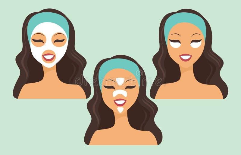 有各种各样的秀丽面具的女孩 皇族释放例证